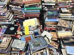 Stacks of Books (ToGa Wanderings) Tags: old school fiction reading mix education library literary books literature read paperback cover abudhabi pile learning knowledge acs monsters recycle libros grab nonfiction stacks overflow literacy prose purge hardback americancommunityschool