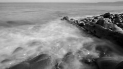 Misty Tide (Jamie Goldsworthy) Tags: longexposure sea blackandwhite holiday west beach coast seaside rocks long exposure expo experiment rocky devon devo westwardho longexpo