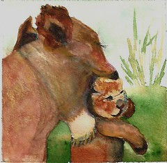 Animal Art Watercolor - Mom's love (Sonia Aguiar (Mallorca)) Tags: art nature animal work watercolor painting paper colorful handmade originalartwork lion mum watercolour acuarela acuarelasdesonia