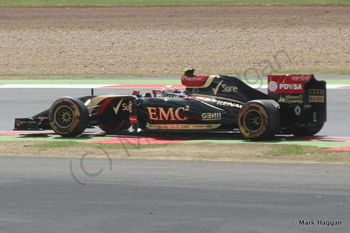 Pastor Maldonado in his Lotus during Free Practice 2 at the 2014 British Grand Prix