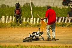 Dumping His Bike (Overpass Light Brigade) Tags: bike wisconsin race track racing motorcycle ezra 07 aztalan brusky