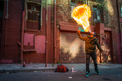 Alley Blast (Stanovision) Tags: sanfrancisco nightphotography fire pyro firebreathing nikond800 flaskmob