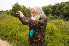 new vs old (killdream3) Tags: camera old people male green nature forest russia moscow sony grandfather oldman process capture making takingphoto