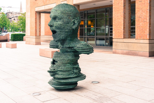 The sculpture 'Eco' outside the New Library at the Queen's University of Belfast.