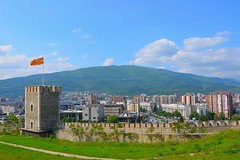 Skopje from Kale Fortress... (Miki216) Tags: city trip tower nikon flag hill capital may macedonia fortress kale 2014 skopje milleniumcross makedonija vodno d5100
