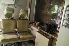 Under the dryers (richboxfrenzy) Tags: abandoned hair cut scissors urbanexploration hairdresser salon hull derelict urbex bettyeaton