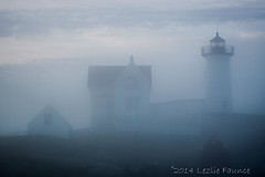 Nubble Light in early morning fog (lezlievachon) Tags: