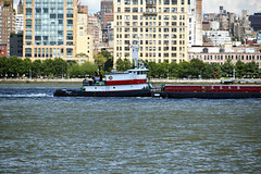 "Picture Of Tugboat ""Elizabeth"" Pushing A Barge Southbound On The Hudson River. Picture Taken From Hoboken New Jersey. Photo Taken Sunday August 4, 2013 (ses7) Tags: tugboat"