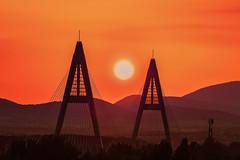 Budapest, sunset on Megyeri bridge