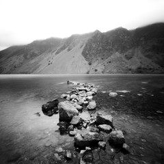 Wastwater Screes (Mark Rowell) Tags: uk bw 6x6 film mediumformat lakedistrict lofi pinhole cumbria zero2000 wastwater zeroimage wasdale
