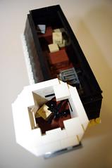 Telescope in the garret - Modular Lego Pharmacy (jskaare) Tags: world city ice shop corner town store cafe apartment lego cola cream pop pharmacy creation modular drugs medicine soda custom prescription own convenience rx moc