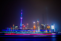 Pudong Skyline (Federico Zanetello) Tags: skyline night river long exposure shanghai foggy   pudong huangpu
