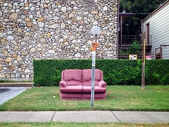 Take a seat (mollyblock) Tags: pink urban abandoned apartments texas furniture tx houston sofa montrose 1960s apartmentcomplex pinkcouch iphone alabamastreet streetcouch westalabamaicehouse iphoneography mollyblock uploaded:by=flickrmobile flickriosapp:filter=nofilter 1920walabamastreet