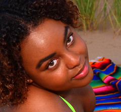 Eyes (Ctuna8162) Tags: park sunset woman sun lake chicago beach grass sand pretty ashley lakemichigan bikini montrosebeach