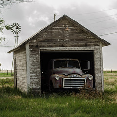 Old Garage (Scott MacDonald Photography) Tags: city windmill truck town garage ghost rusty page kansas