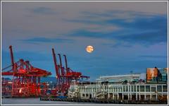 Harvest Moon 2014 (tdlucas5000) Tags: moon canada vancouver clouds harbor harvest cranes coal hdr brittishcolumbia