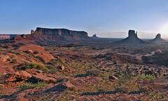 Monument Valley Rising (NameSpace) Tags: park travel sunrise landscape butte az clear vista navajo monumentvalley