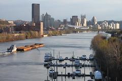 Allegheny River (joseph a) Tags: bridge skyline pittsburgh cityscape pennsylvania barge alleghenyriver 30thstreetbridge