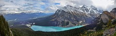 Lake Louise Panorama - Banff National Park, Alberta, CA (André-DD) Tags: cans2s canada kanada urlaub vacation alberta herbst fall autumn outdoor view aussicht himmel wolken clouds mountain landscape hill cloud sky mountainside banff national park banffnationalpark nationalpark bäume baum tree trees serene mountains berge berg natur nature lakelouise wasser water teich pond lake littlebeehivetrail trail