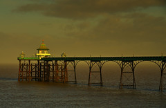 Then there was a light at the end of the pier. (alex.vangroningen) Tags: clevedon somersetlight sea pier green blue sky clouds white wood atmosphere
