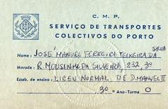 STCP Porto - cartão de estudante 1972-1973 (© Portimagem) Tags: portugal patrimónionacional historia stcp porto transportes transportespúblicos bilhetedeidentidade documentooficial identidade