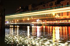 Boat lights by Rialto - Venice 2014 (James Hancock Photography) Tags: venice sunset night boats lights canal day pigeons gulls gondola longexposures