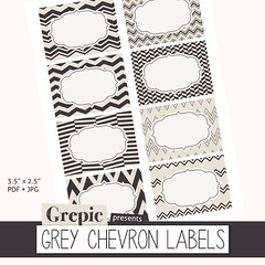 "Printable labels: ""GREY CHEVRON LABELS"" with printable labels useful as buffet cards, storage labels, office labels, party labels (workyourart) Tags: geometric digital square cards grey sticker stickers gray labels buffet chevron zigzag printable"