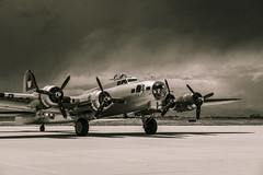 B-17 - Centennial Airport (BeerAndLoathing) Tags: 2014 canon colorado denver june mountains outdoors planes summer wildlife bw airplanes b17 storm clouds skies sky airplane warbird sepia