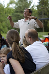 "Dave Gallagher instructs the hayride participants: ""Hands in and stay seated!"""