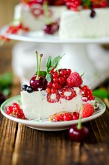 Cheesecake with berries. selective Focus (teleginatania) Tags: new york light red party summer food white green art cakes cake closeup fruit cheese cherry pie dessert frozen strawberry berry berries sweet eating background cream mint strawberries tasty plate cheesecake fresh gourmet delicious eat homemade slice raspberry raspberries unhealthy shortcake currant redcurrant