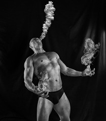 The fire within v3 (squesada70) Tags: portrait blackandwhite selfportrait fire shadows muscle smoke anger rage fitness angst