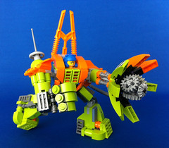 Mine Mech drilling pose (Hen Peril) Tags: monster rock king power lego crystal hard suit miner mech moc