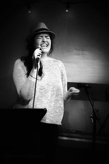 Being the Song (eterem) Tags: portrait blackandwhite bw musician music woman beautiful hat norway stavanger norge singing stage performance performing highcontrast singer feeling consert rogaland captivating bluebirdcafe withfeeling beingthesong