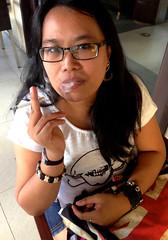 Smoke (mikeeliza) Tags: portrait woman brown black hot sexy beautiful dark hair asian glasses pretty arms skin philippines young lips full manila pinay filipina brunette eliza wavy shining mikeeliza