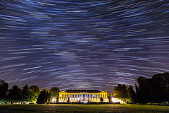 20140728_F0001: Star-trails above the Buquoy Chateau in Nove Hrady (wfxue) Tags: park street longexposure trees light sky building castle grass night lens stars czech centre research flare mansion chateau startrails academyofsciences novehrady buquoy