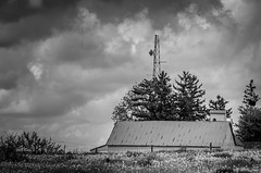 A hint of modernity (.Chris Lee) Tags: trees roof summer sky blackandwhite bw cloud white black building tree monochrome clouds fence outside outdoors nikon midwest farm monochromatic iowa telephoto mast grayscale nikkor cloudscape greyscale dx 55200mm nikondx cropfactor apsc nikkor55200mm d7000 nikond7000