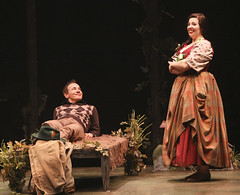 (L to R) Jason Graae (Jeff Douglas) and Tory Ross (Meg Brockie) in Brigadoon, produced by Music Circus at the Wells Fargo Pavilion August 5-10, 2014. Photos by Charr Crail.