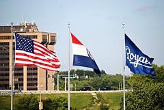 Flags over Kauffman Stadium (Cragin Spring) Tags: city urban usa midwest unitedstates baseball flag flags mo kansascity missouri ballpark mlb royals kansascityroyals kauffmanstadium kansascitymo majorleaguebaseball kansascitymissouri