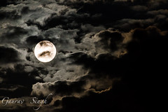 Moon with clouds (gauravs82) Tags: light sky moon white reflection night clouds exposure satellite astro illuminated fullmoon moonrise lunar astronomical supermoon