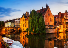 Rozenhoedkaai Canal, Bruges (SagarMohanty) Tags: blue canals most hour bruges photographed picturesque rozenhoedkaai