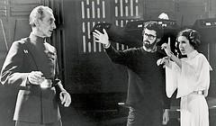 Peter Cushing, George Lucas and Carrie Fisher (Tom Simpson) Tags: film vintage starwars princessleia carriefisher behindthescenes deathstar georgelucas petercushing