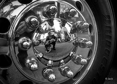 selfie in Broadway (Jack_from_Paris) Tags: street new york nyc bw building monochrome wheel truck myself mirror raw angle noiretblanc wide panasonic reflet chrome micro capture rue mode effect 43 roue lightroom f32 lr4 nx2 ecrous dmcgf1 pancake14mmf25asph p1010774bw