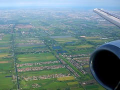 Paddy Field of Thailand (stardex) Tags: green thailand paddy bangkok flight wing aerial boeing paddyfield b737400 stardex
