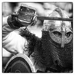 Knight in Shining Armour (mdalmuld) Tags: blackandwhite bw canon blackwhite helmet australia medieval armor sword knight shield armour reenactment medievalreenactment gatheringoftheclans norahhead canon7d mailcoif
