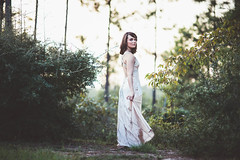 Wander (KaraleeScouten) Tags: park woman brown nature girl forest eyes louisiana dress purple champagne young formal chiffon national brunette gown satin kisatchie