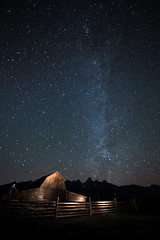 4 a.m. The Milky Way at the Mormon Barns, Tetons (diana_robinson) Tags: nightphotography lightpainting stars wyoming tetons milkyway grandtetonnationalpark mormonbarn