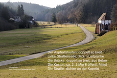 the idyll: threatened by needless road construction - bedrohtes Idyll (claude05) Tags: postcard protest citizensforum chapel cloister tennenbach k5138 portacoeli himmelspforte