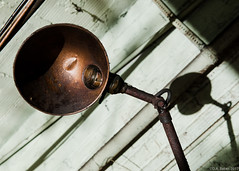 """""""Antique Lamp"""" (D A Baker) Tags: tool machine shop machineshop maker fort wayne indiana ft fortwayne summer vacant decay decayporn abandoned demolished old vintage business huth history antique lamp bronze metal worn used hinge elbow"""