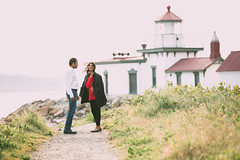 Discovery Park (Casey Broadwater Photography) Tags: light red lighthouse golden engagement couple hour pugetsound discoverypark