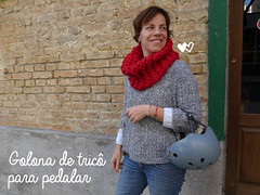 Golona para bike (super_ziper) Tags: bike bicycle diy knitting bicicleta yarn inverno frio tutorial pap gola tric l receita capacete superziper golona